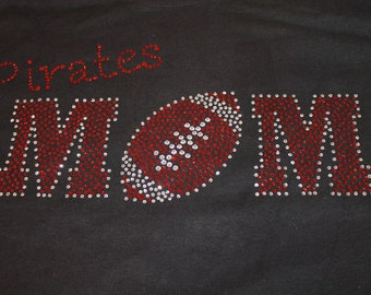 Football Mom Bling Shirt, Customized in your team colors, Football Mom Bling Shirt, Football Mom, Football Mom Bling Tank, Football Shirt