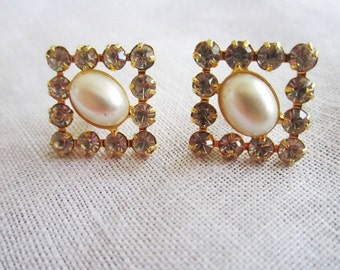 Vintage Gold Tone Square Rhinestone Pierced Earrings with Faux Pearl Centers