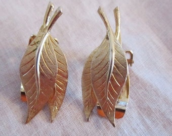 Vintage Gold Tone Double Leaf Clip On Earrings by Marvella