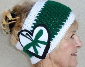 Women Fashion / Versatile Winter Accessories / Green and White Original Cowl / Headband / Unique Ski Accessories