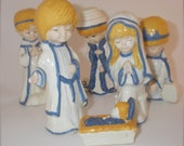 Vintage Nativity Set Of Seven 1970s Glazed Ceramic Christmas Children Figurines
