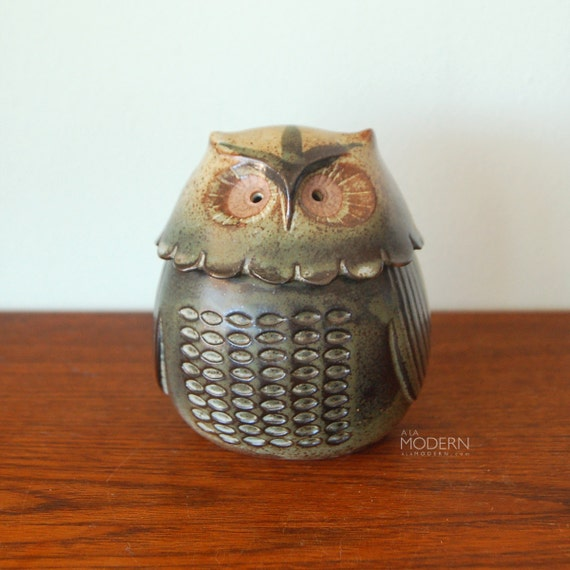 Cute Stoneware Owl Jar or Candle Holder Japan