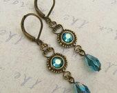 Indicolite Teal Crystal  Antiqued Brass Filigree Leverback Earrings