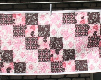 Pink and Brown Hearts and Swirls Long Table Runner