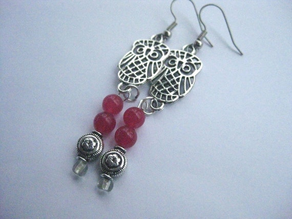 OWL Earrings Silver Tone with Hot Pink Glass Beads French Hook FREE Shipping
