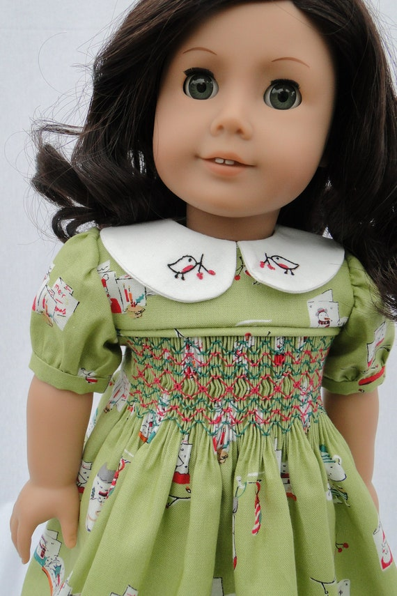 Christmas Hand Smocked Dress For American Girl Doll