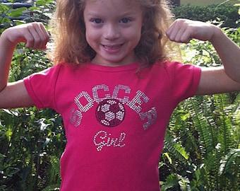 Girls Personalized Rhinestone Soccer Shirt