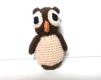 Crocheted Baby Owl,  Beige and Brown Owl