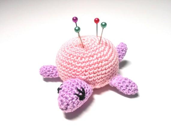 Crocheted Turtle Pink and Purple Miniature, Turtle Pincushion, Miniature Turtle