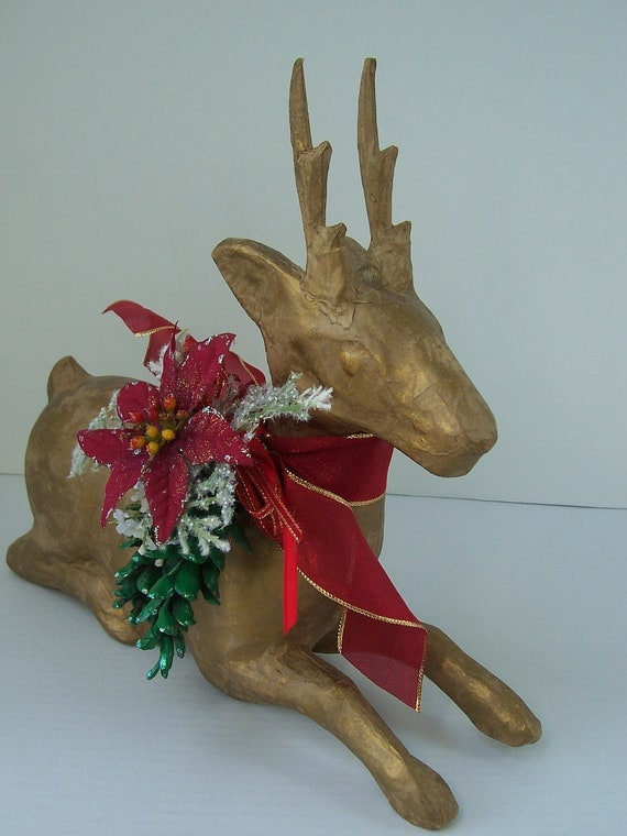 Gold paper mache reindeer centerpiece woodland green