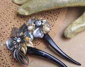 Hair comb retro vintage Hollywood Regency style lucite silver gold floral hair accessory