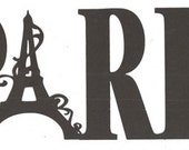 Paris with decorative Eiffel tower word silhouette