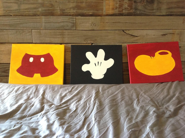 Minimalistic mickey mouse set of three canvas paintings for Set of three canvas paintings