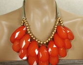 CUSTOM Opaque Bright Red Double Strand Briolette Teardrop Statement Necklace Stormy Seas