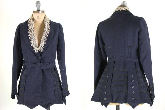 Antique Edwardian Victorian Gothic Riding Jacket Navy Blue XS