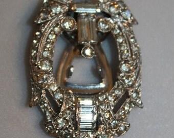 Liquid Ice - Vintage 1931 Art Deco Pave & Rhinestone Dress Clip on Rhodium - Mint