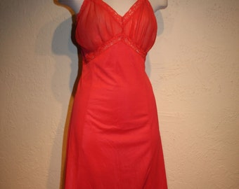 Excited as a Rose - Vintage 1950s Deep Rose/Coral Full Slip w/Accordion Bust & Trim
