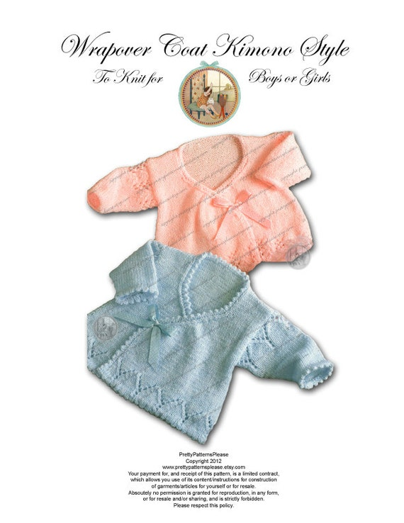 Vintage Knitting Pattern Wrap Over Coat for Baby Boys or Girls - Instant Download - Kimono Style Asian Look - PrettyPatternsPlease