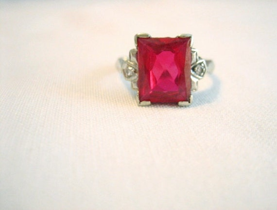 Vintage Art Deco Ruby and Diamond Ring - 40s 50s Vintage - 14k White Gold - Size 7