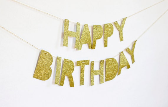 Happy Birthday Banner (Gold Glitter)