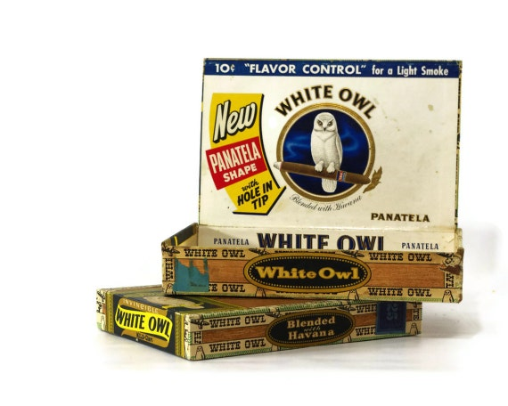 Vintage White Owl Cigar Box Pair