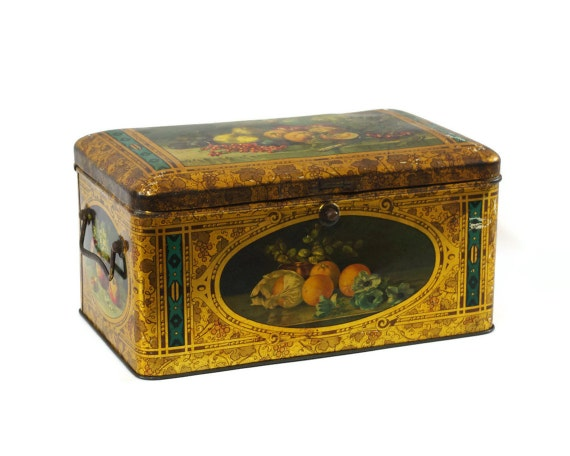 Antique Tin Box, Lithograph, Still Life Fruit Design