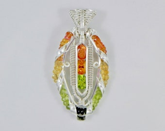 Sunstone, Citrine,Peridot, Orange Sapphire, and Tourmaline Argentium Sterling Silver Wire Wrap Helix Pendant