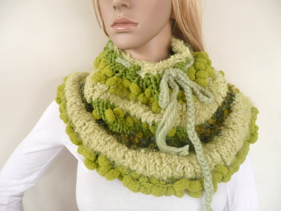 Hand knit infinity scarf Cowl Green Neck Warmer Pompoms and adjustable neck