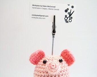 Business Card Holder, Pig Table Card Holder, Pig Photo Clip