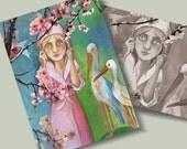 ACEO/ATC Mini Fine Art Print Springtime -  Little Girl Soft Green Light Blue   Artist Card Postcard
