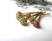 Red and Green Hair Pins, Crystal and gold tone, Christmas Bobby Pin, Holiday Sparkle