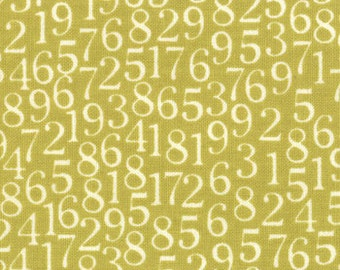 Cute Chartruese Numbers Print from Lucy's Crab Shack Collection, by Moda, 1 yard