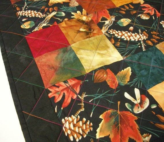Fall Autumn Table Runner Handmade Quilted Ready to Ship One of a Kind