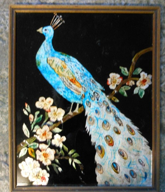 Peacock painting on glass - photo#5