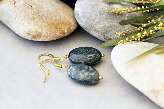 SALE - Rainforest Drops -  Kambaba Jasper Earrings