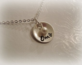 Oma Nana Mom Sterling Silver Necklace with Pearl or Birthstone Crystal