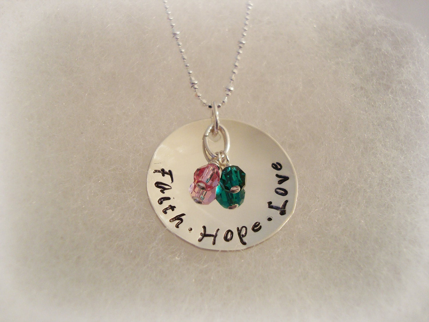Faith Hope Love Sterling Silver Necklace with Crystals