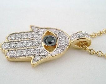 0.39 Carat 18K Yellow Gold Hamsa Hand Of GOD Diamond Pendant Necklace HandMade Pave Set