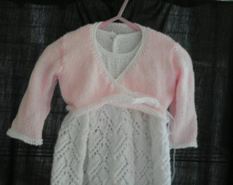 Hand knit girls christening outfit