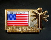 Authenic International Special Olympics United States Gold Pin Signed Jostens 1991