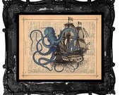 Octopus attacking Galleon Ship Art Print on a vintage Dictionary Antique Book Page blue octopus ship Art Print
