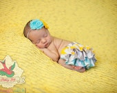 Yellow gray and aqua chevron zigzag ruffle bloomers diaper cover newborn baby infant toddler girl