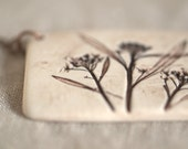 Earthy Porcelain Pendant with Impression of Sweet Alyssum - peifferStudios