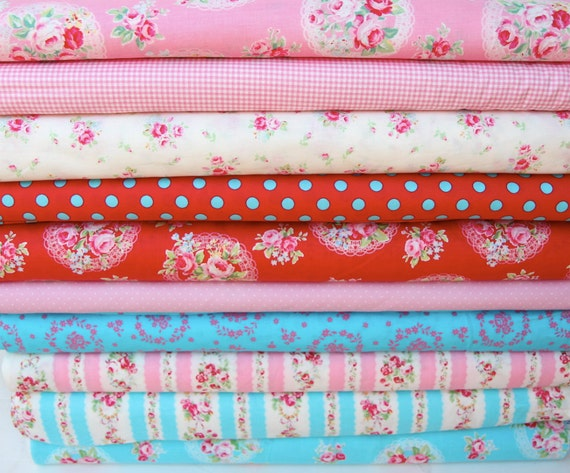 Flower sugar fabric  mixed with dot and gingham fabric, 10 yards