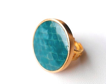Lacquered Turquoise SNAKE PRINT Cocktail Ring- One of a Kind