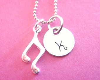 Music Note Necklace - Hand Stamped Jewlery - Sterling Silver
