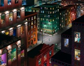 """Manhattan Skyline at night """"Transience"""" (20""""x24"""" signed, limited edition fine art print ) of Oil Painting"""