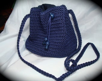 Vintage Navy Blue  Crotched Vanessa Draw String Purse.