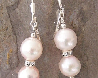 Pale Pink Round Freshwater Pearl with Swarovski Rondelle Earrings