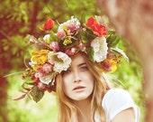 Floral-Crown-Bridal-Flower-Hair-Piece-Headpiece-Wreath-Fascinator-Fall-Wedding-Whimsical-Spring-Garden - EllaGajewskaHATS